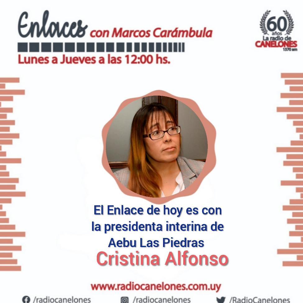 Enlaces con la presidenta interina de Aebu Las Piedras, Cristina Alfonso.